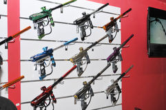 Paint ball guns display at Abu Dhabi International H Stock Photos