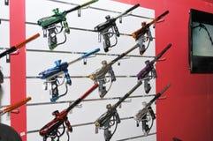 Paint ball guns display at Abu Dhabi International H Stock Photos