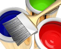 Paint bank with brush Royalty Free Stock Photography