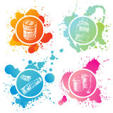 Paint banks and tubes. Hand drawn paint banks and tubes over splashing background Royalty Free Stock Photo