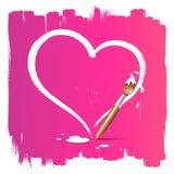 Paint borstar hjärta formar bakgrund royaltyfri illustrationer