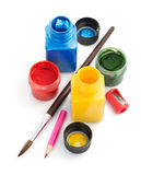 Paint and bottle  on white Royalty Free Stock Photos