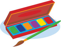 Paint Box. An artist's box of watercolor paints and a brush royalty free illustration