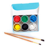 Paint Box and Brushes Stock Photo