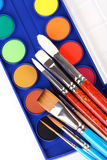 Paint box and brushes on white background Stock Image