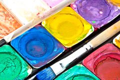 Paint-box close-up Royalty-vrije Stock Fotografie