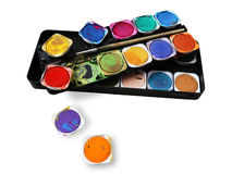 Paint box, with splatters of paint, multicolored Royalty Free Stock Photos