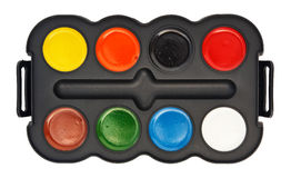 Paint box with water colors Stock Photos