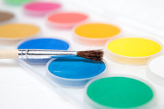 Paint box  on white background Stock Photos