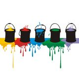 Paint Boxes and Drops on a Wall Stock Photos