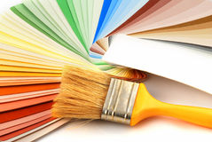 Paint bruh and colors Royalty Free Stock Photos