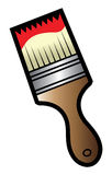 Paint brush. Cartoon illustration of a paint brush with red paint Royalty Free Stock Image