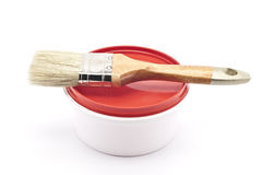 Paint and brush. On a white background Royalty Free Stock Photography