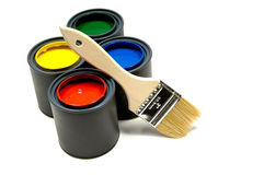 Paint and a brush Stock Photo
