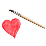 Paint brush and  abstract heart in  watercolor on white background Royalty Free Stock Photo