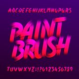 Paint brush alphabet font. Uppercase brushstroke grunge letters and numbers. Stock vector typography stock illustration