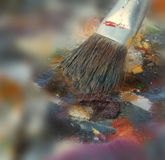 Art Brush on Art Palette Royalty Free Stock Photography