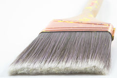 Paint brush bristles. A professional painters paint brush on a neutral background Royalty Free Stock Image