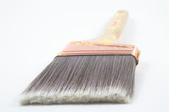 Paint brush bristles. A professional painters paint brush on a neutral background Royalty Free Stock Images