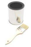 Paint brush and bucket Royalty Free Stock Photography