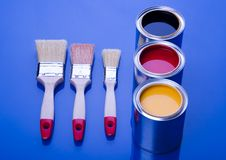 PAINT BRUSH AND CAN Stock Photos