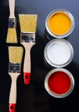 PAINT BRUSH AND CAN Royalty Free Stock Photo