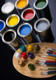 PAINT BRUSH AND CAN Royalty Free Stock Photos