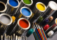 PAINT BRUSH AND CAN Royalty Free Stock Images