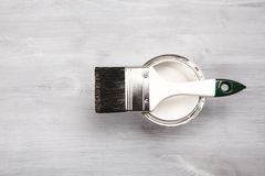 Paint brush on the can. Top view. Stock Photography