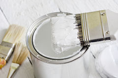 Paint brush and can Stock Photo