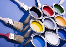 Paint brush and cans Royalty Free Stock Image