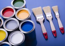Paint brush and cans Stock Image