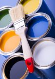 Paint brush and cans Royalty Free Stock Photography