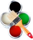 Paint Brush With Cans Of Paint - Isolated. Paint brush paints color colors white background royalty free stock photos