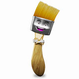 Paint Brush Cartoon Character 3d. Paint brush cartoon character with a funny face and baseball cap holding a green pot of paint Stock Image