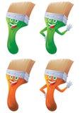Paint brush cartoon character set Royalty Free Stock Photos
