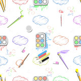 Paint with a brush and clouds. seamless pattern Royalty Free Stock Photos