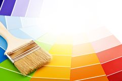 Paint brush with color cards Royalty Free Stock Image