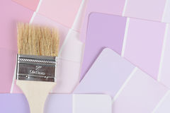 Paint Brush on Color Chips Stock Photos