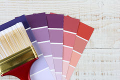 Paint Brush Color Chips Stock Photography