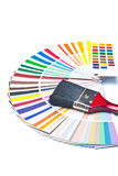Paint brush on color guide Royalty Free Stock Photo