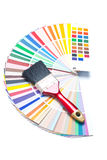 Paint brush on color guide Stock Image