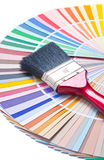 Paint brush on color guide Royalty Free Stock Photography