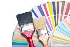 Paint brush and color guide Stock Images
