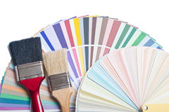 Paint brush and color guide on white royalty free stock images