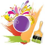 Paint brush with color lines Royalty Free Stock Photo