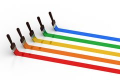 Paint brush with color lines Stock Photo