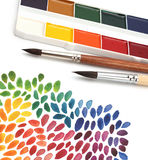 Paint brush and color paint background Stock Photos