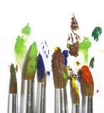 Paint brush with color painting Stock Photo
