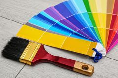 Paint brush and color palette samples royalty free stock image